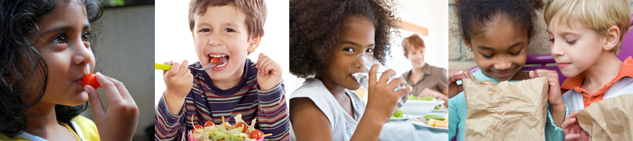 Banner picturing children eating